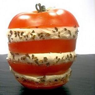 mille-feuille de tomates à la mozzarella