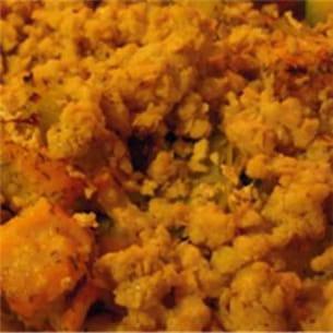 saumon aux courgettes et poireaux, crumble aux flocons d'avoine.