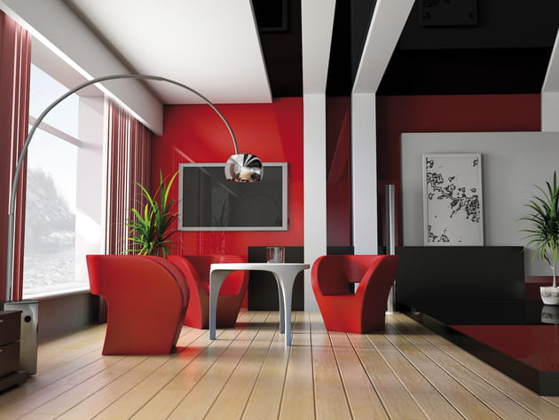 Un salon rouge design