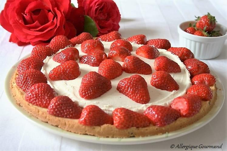 Tarte sablée aux fraises, crème mascarpone, Bio, sans oeufs, sans gluten