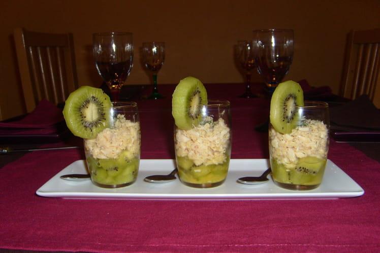 Verrines fraîcheur au crabe, kiwis et citron vert