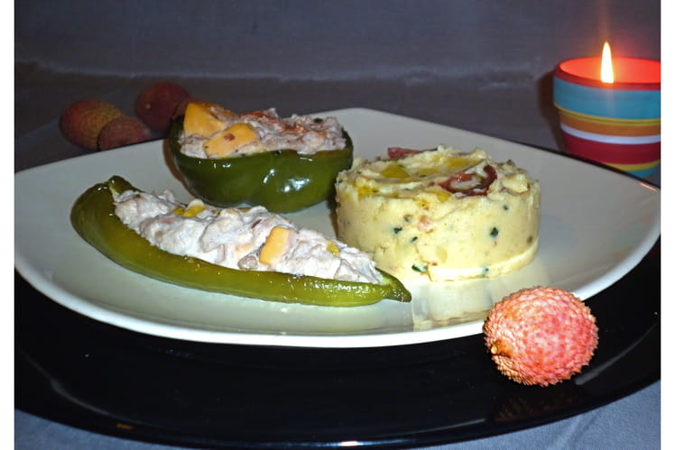 Poivrons corne de boeuf farcis thon-crème-cheddar