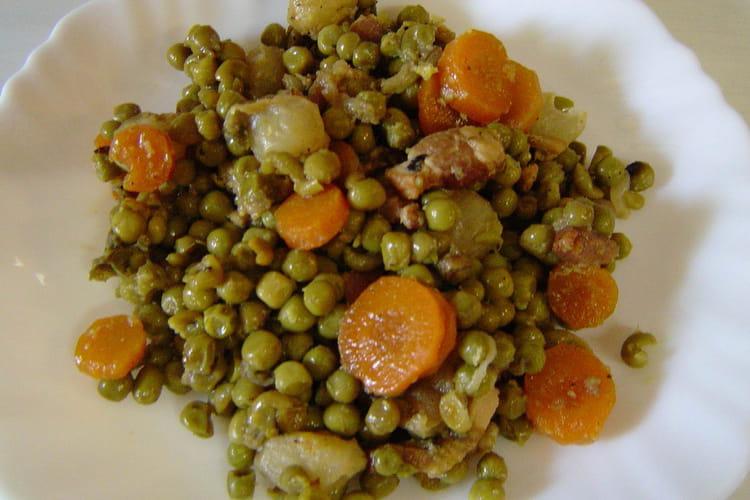 Petits pois façon jardinière aux carottes et oignons grelots