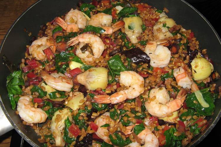 Petit épeautre aux crevettes et aux légumes