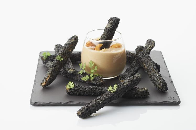 Verrines de fricassée d'écrevisses, crème de fenouil et quennelles panées au pavot