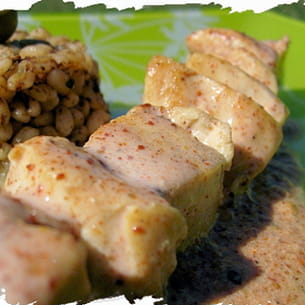 brochettes tandoori massala et ebly aux olives