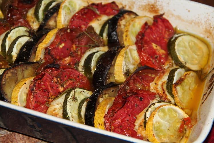 Tian de legumes a la mozzarella et aux herbes de provence