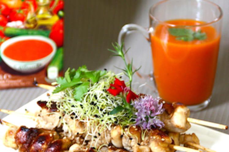 Gazpacho Alvalle et ses Brochettes de poulet mariné