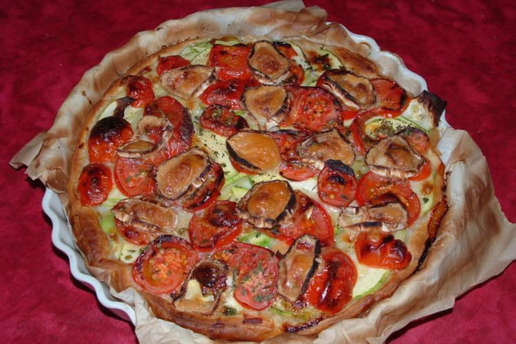 Tarte à la tomate, courgette et chèvre