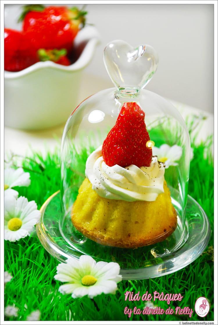 Recette de Petits gâteaux nid de Pâques amande-chantilly vanille ...