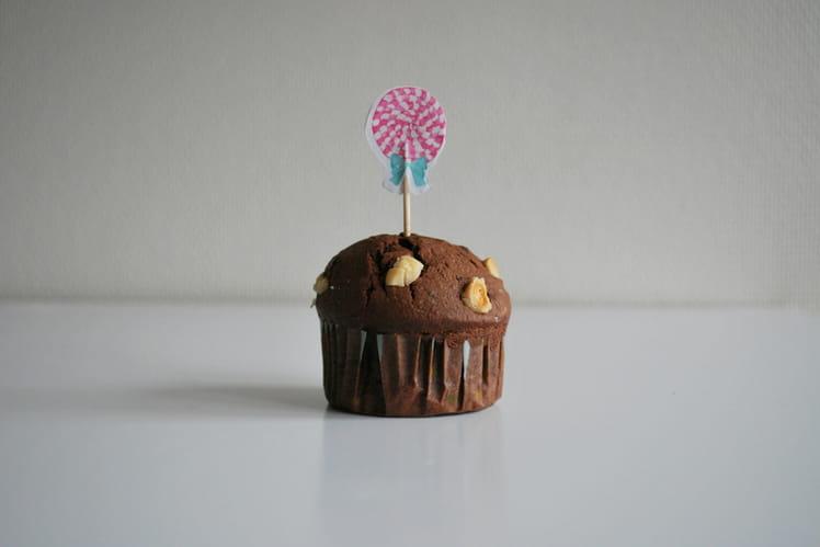 Muffins chocolat, noisettes et fleur de sel