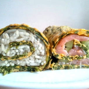 omelette d'asperges version makis