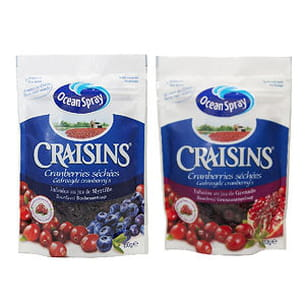 craisins cranberries séchées, infusées au jus de grenade ou de myrtilles d'ocean