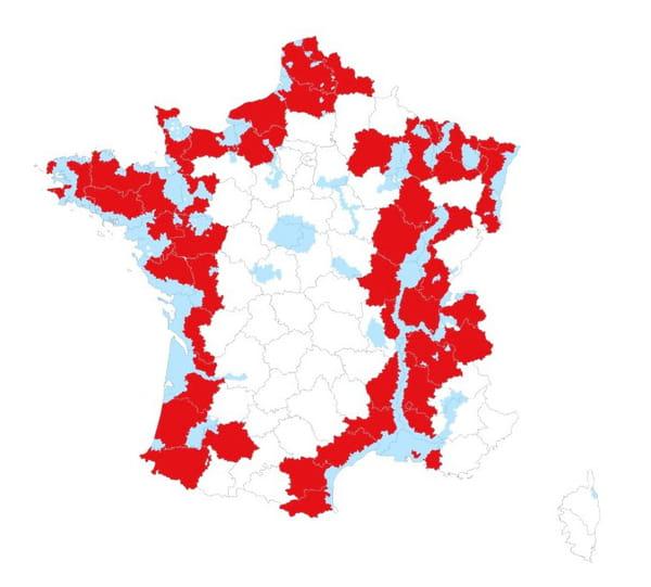 Carte des zones concernées par les mesures de prévention (ZRP en bleu, départements en rouge) :