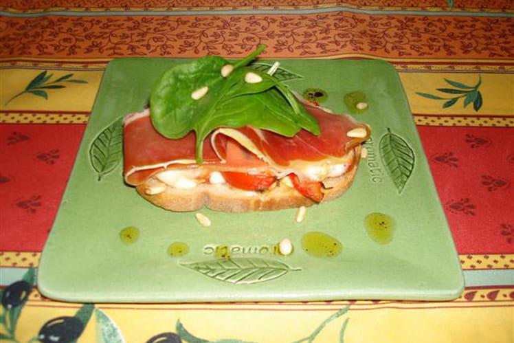 Bruschetta tomate mozzarella et jambon d'Aoste