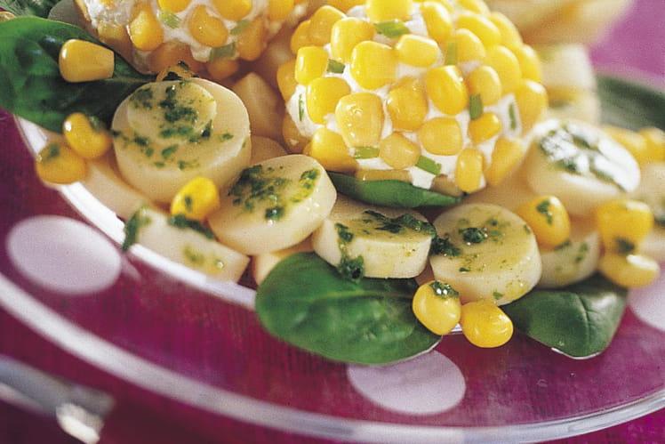 Boules de maïs au fromage frais sur coeur de palmier