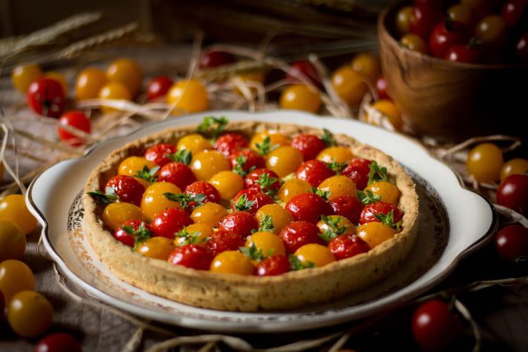 Tarte estivale aux tomates cerises