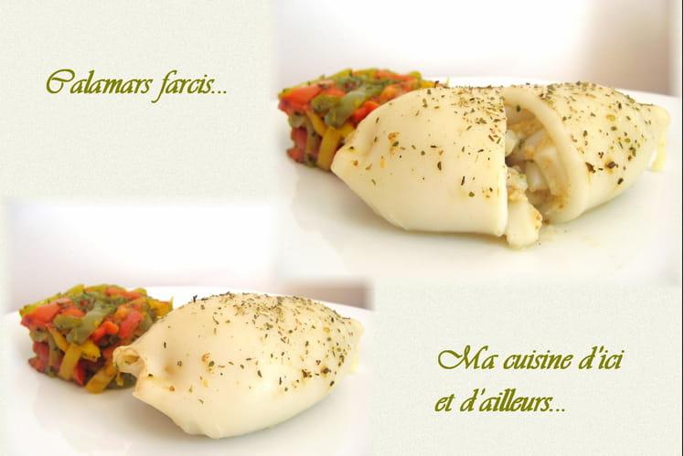 Calamars farcis à la chapelure et au fromage