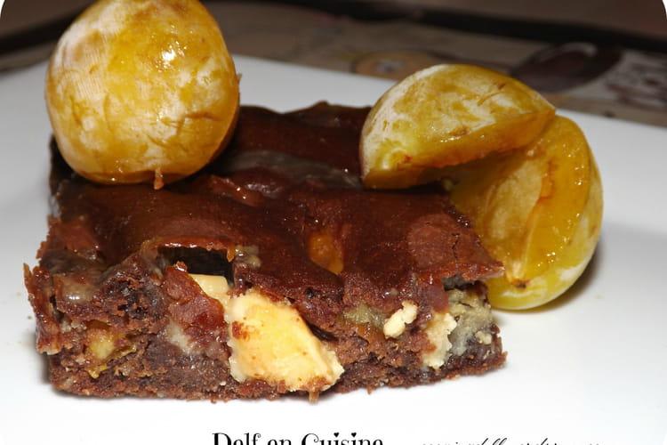 Brownies chocolat noir et blanc et mirabelles