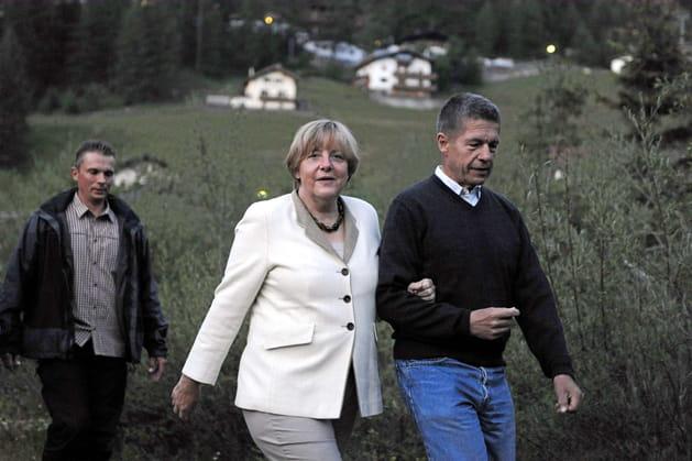 Angela Merkel et son époux Joachim Sauer, dans les Alpes italiennes (2011)