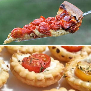 tarte de tomates cerises au parmesan et basilic et mini tartelettes aux tomates
