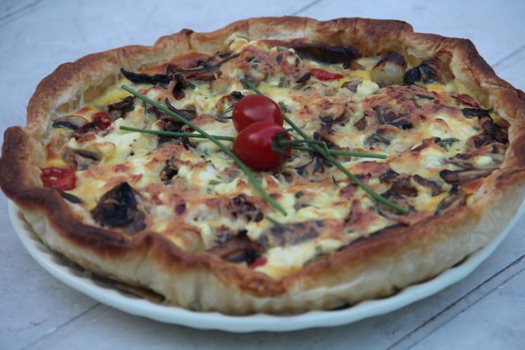 Tarte au thon, tomates cerises et fromage frais