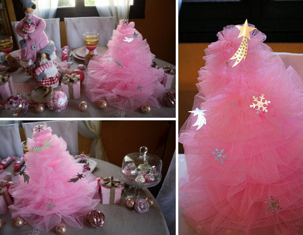 D co de no l fabriquer un sapin de no l en tulle rose for Fabrication decoration de noel