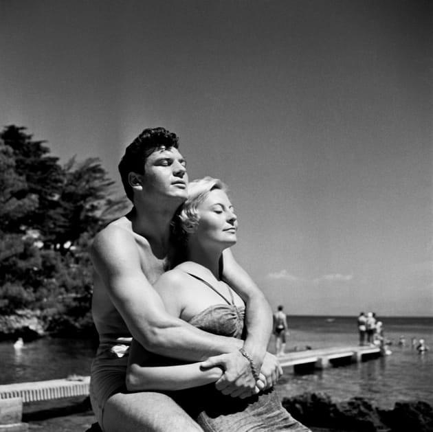 Avec son 2e mari, Henri Vidal, au Cap d'Antibes