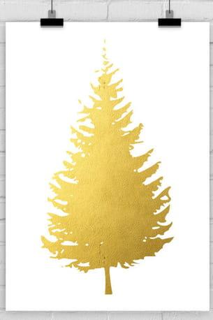 art print pin faux arbre d'or arbre de noël