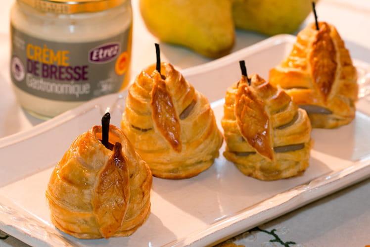 Poires feuilletées ou Douillons bressans aux poires, farcis à la crème de Bresse aux noisettes