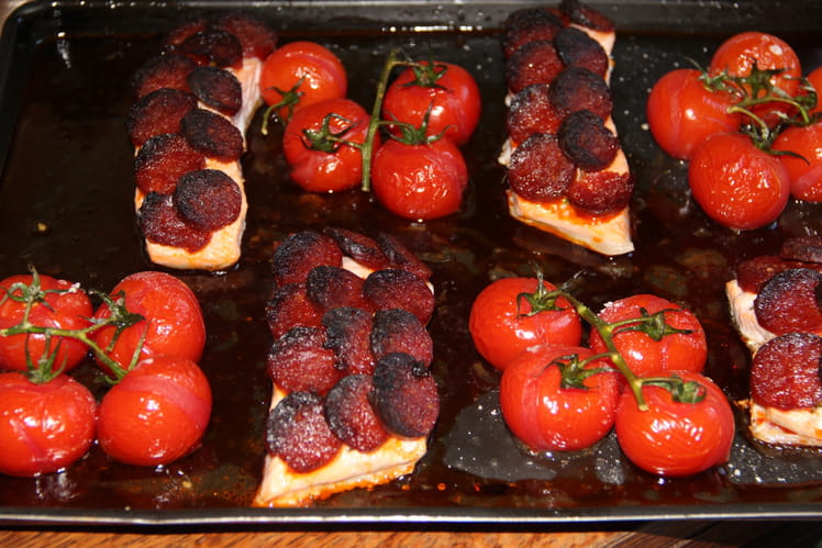 Pavés de saumon en écailles de chorizo