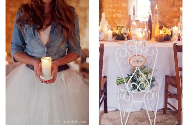 Déco de mariage rustique chic: bougies et décontraction