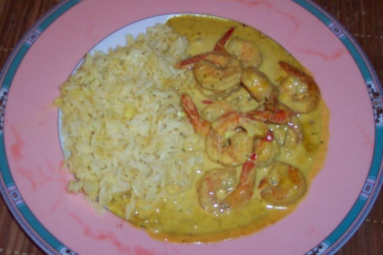 Crevettes curry/coco