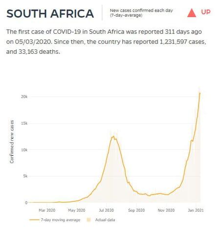 courbe cas covid afrique du sud