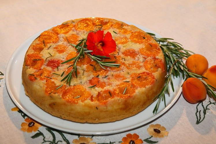 Gâteau renversé aux abricots et romarin, huile d'olive et miel