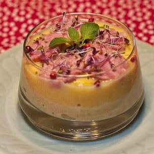 verrine au rutabaga, potiron et saucisse à l'ail