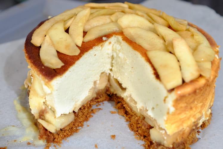 Cheesecake light aux pommes caramélisées cannelle-gingembre