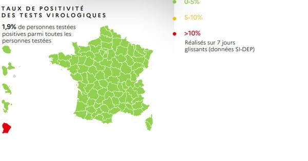 Taux de tests positifs au Covid-19 en France au 28 mai 2020