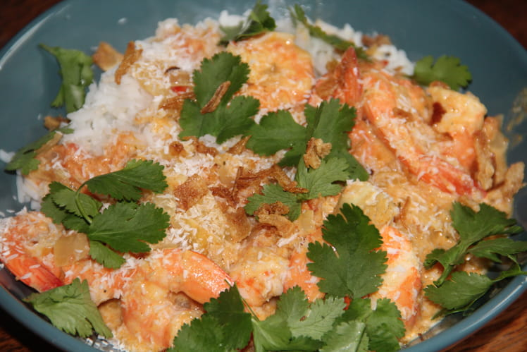 Curry de crevettes, coco et coriandre
