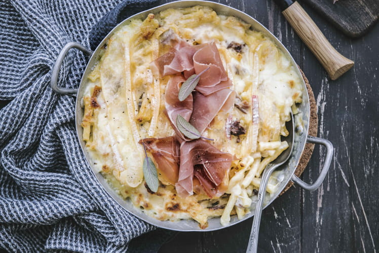 Mac and cheese façon tartiflette et jambon cru