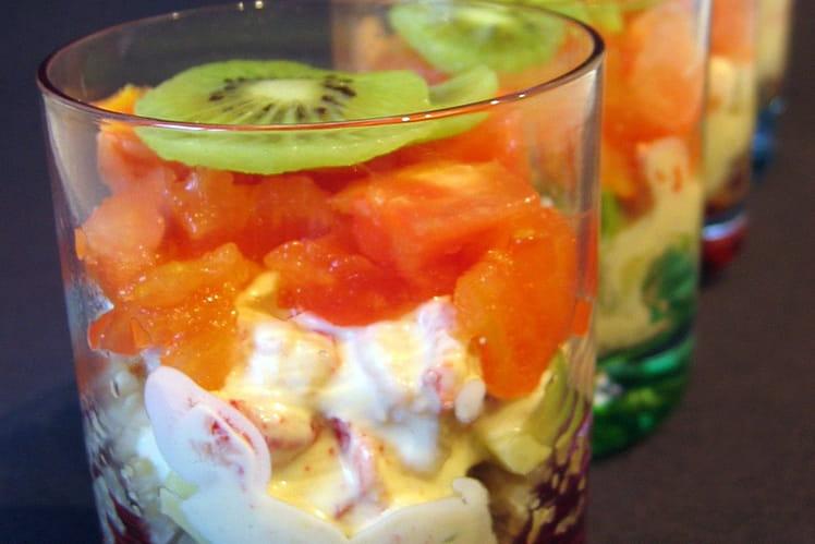 Verrines méli-mélo aux écrevisses et au quinoa