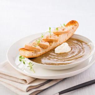 soupe de lentilles, tartine de foie gras