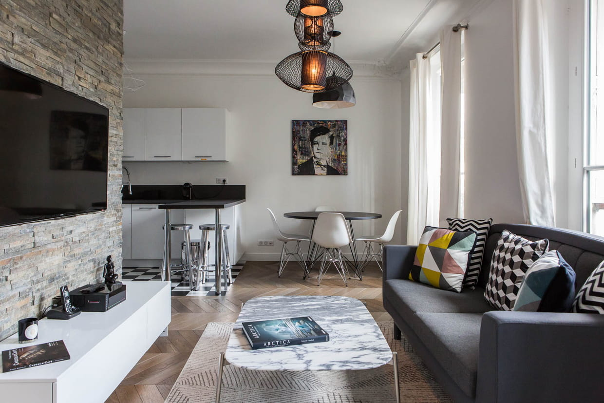 Style contemporain dans un appartement haussmannien