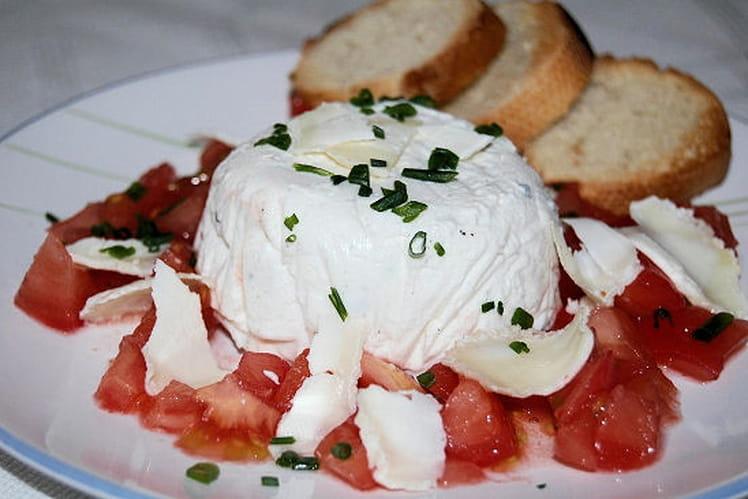 Mousseline de chèvre frais et concassée de tomates