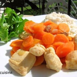 mijoté de poulet aux carottes et raisins secs