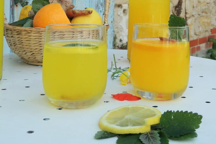 Infusion chaude ou glacée citron curcuma et gingembre