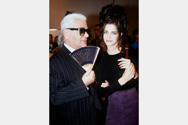 Stephanie Seymour et Karl Lagerfeld le 19octobre 1995