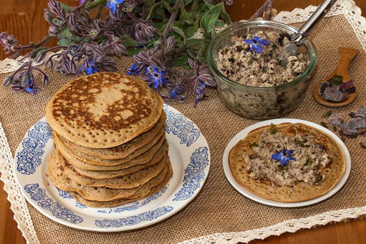 Pancakes au sarrasin et rillettes de sardines aux algues