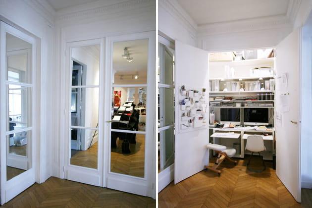 un bureau cach dans un placard. Black Bedroom Furniture Sets. Home Design Ideas