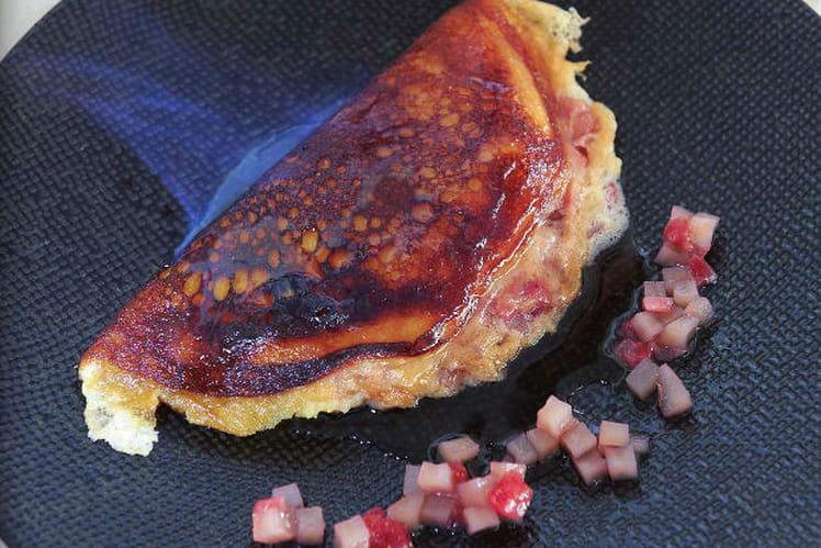 Omelette soufflée Parmentier, fraises Gariguettes confites